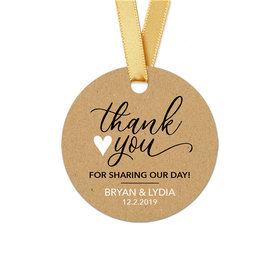 Personalized Round Thank You Heart Wedding Favor Gift Tags (20 Pack)