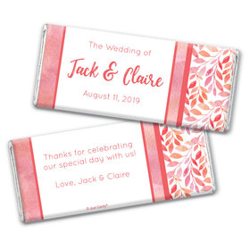 Personalized Wedding Lovely Leaves Chocolate Bar Wrappers