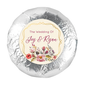 "Personalized Wedding Blooming Bouquet 1.25"" Stickers (48 Stickers)"