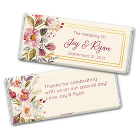 Personalized Wedding Blooming Bouquet Chocolate Bar & Wrapper