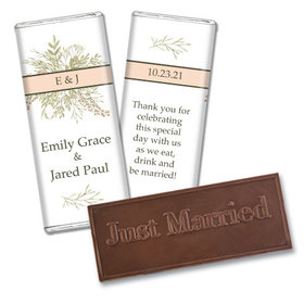 Personalized Wedding Wildflower Bouquet Embossed Chocolate Bar & Wrapper