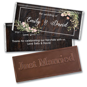 Personalized Wedding Rustic Romance Embossed Chocolate Bar & Wrapper