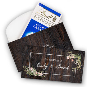 Deluxe Personalized Wedding Rustic Romance Lindt Chocolate Bar in Gift Box (3.5oz)