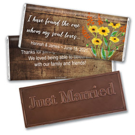 Personalized Wedding Painted Flowers Embossed Chocolate Bar & Wrapper