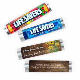 Personalized Wedding Painted Flowers Lifesavers Rolls (20 Rolls)