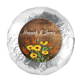 "Personalized Wedding Painted Flowers 1.25"" Stickers (48 Stickers)"