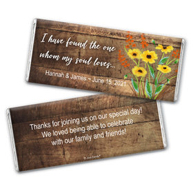 Personalized Wedding Painted Flowers Chocolate Bar & Wrapper