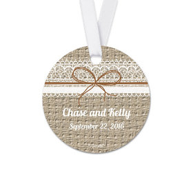 Personalized Round Burlap Lace Wedding Favor Gift Tags (20 Pack)