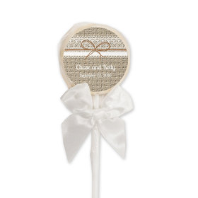 Wedding Favor Personalized White Lollipop Burlap and Lace (24 Pack)
