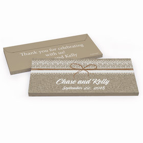 Deluxe Personalized Wedding Burlap and Lace Hershey's Chocolate Bar in Gift Box
