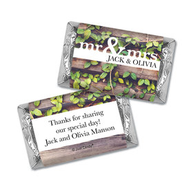 Personalized Wedding Mr. & Mrs. Rustic Hershey's Miniatures Wrappers Only