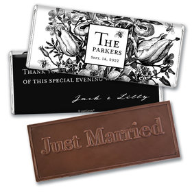 Personalized Wedding Ornamental Botanicals Embossed Chocolate Bar & Wrapper