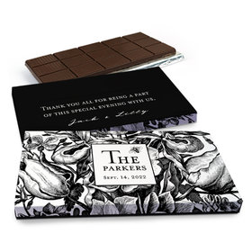 Deluxe Personalized Wedding Ornamental Botanicals Chocolate Bar in Gift Box (3oz Bar)