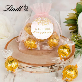 Personalized Wedding Lindt Truffle Organza Bag- Blushing Dream