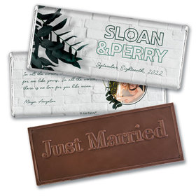 Personalized Wedding Contemporary Foliage Embossed Chocolate Bar & Wrapper