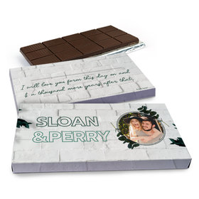 Deluxe Personalized Wedding Contemporary Foliage Chocolate Bar in Gift Box (3oz Bar)