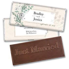 Personalized Wedding Romantic Flora Embossed Chocolate Bar & Wrapper