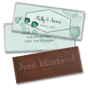 Personalized Wedding Peaceful Eucalyptus Embossed Chocolate Bar