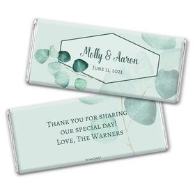 Personalized Wedding Peaceful Eucalyptus Chocolate Bar & Wrapper
