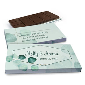 Deluxe Personalized Wedding Peaceful Eucalyptus Belgian Chocolate Bar in Gift Box (3oz Bar)