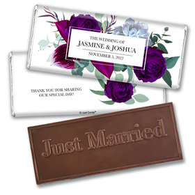 Personalized Wedding Elegant Botanicals Embossed Chocolate Bar & Wrapper