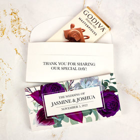 Deluxe Personalized Wedding Elegant Botanical Godiva Chocolate Bar in Gift Box