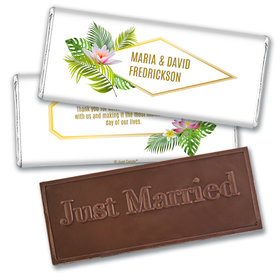 Personalized Wedding Floral Glam Embossed Chocolate Bar & Wrapper