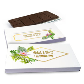 Deluxe Personalized Wedding Floral Glam Chocolate Bar in Gift Box (3oz Bar)