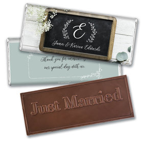 Personalized Wedding Chalkboard Lettering Embossed Chocolate Bar & Wrapper