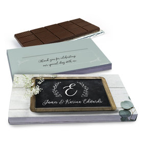 Deluxe Personalized Wedding Chalkboard Lettering Chocolate Bar in Gift Box (3oz Bar)