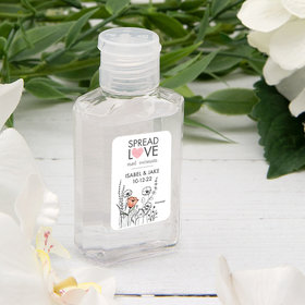 Personalized Hand Sanitizer Wedding 2 fl. oz bottle - Heart Love