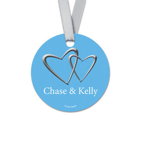 Personalized Round Linked Hearts Wedding Favor Gift Tags (20 Pack)