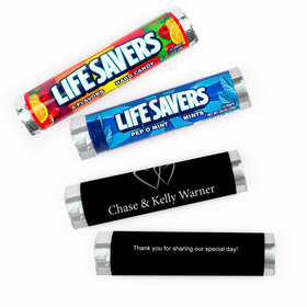 Personalized Wedding Locked Swept Lifesavers Rolls (20 Rolls)