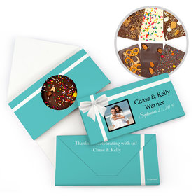 Personalized Wedding Tiffany Style Wedding Gourmet Infused Belgian Chocolate Bars (3.5oz)