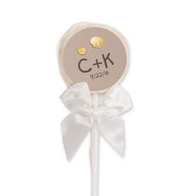 Wedding Favor Personalized White Lollipop Names and Hearts in Sand Sea Shore (24 Pack)