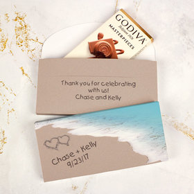 Deluxe Personalized Wedding Seashore Message Godiva Chocolate Bar in Gift Box