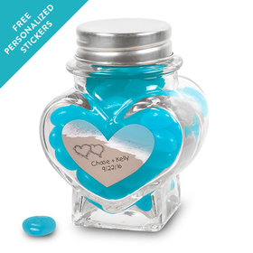 Wedding Favor Personalized Heart Jar Names and Hearts in Sand Sea Shore (12 Pack)