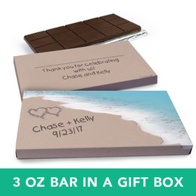 Deluxe Personalized Wedding Seashore Heart Belgian Chocolate Bar in Gift Box (3oz Bar)