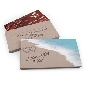 Deluxe Personalized Wedding Seashore Heart Belgian Chocolate Parve Bar in Gift Box (3.5oz Bar)