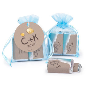 Personalized Wedding Hearts in Sand Hershey's Miniatures in Organza Bags with Gift Tag
