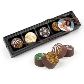 Personalized Wedding Full Photo Gourmet Belgian Chocolate Truffle Gift Box (5 Truffles)