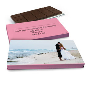 Deluxe Personalized Wedding Full Photo Belgian Chocolate Bar in Gift Box (3oz Bar)