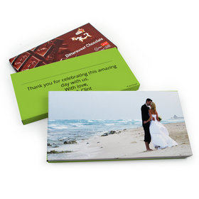 Deluxe Personalized Wedding Full Photo Belgian Chocolate Parve Bar in Gift Box (3.5oz Bar)