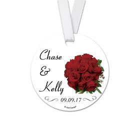 Personalized Round Wedding Bouquet Favor Gift Tags (20 Pack)