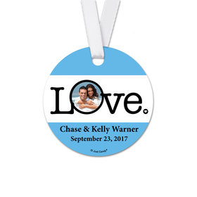 Personalized Round Wedding Circle Photo Favor Gift Tags (20 Pack)