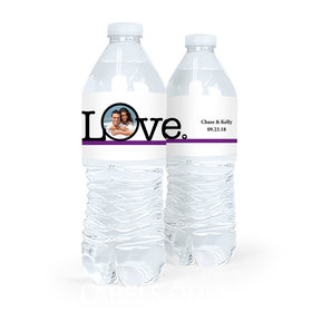 Personalized Wedding Circle Photo Water Bottle Labels (5 Labels)