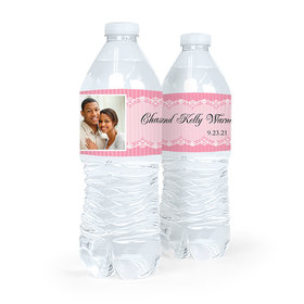 Personalized Wedding Lace Photo Water Bottle Sticker Labels (5 Labels)