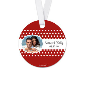 Personalized Round Wedding Polka Dots Favor Gift Tags (20 Pack)