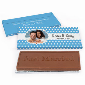 Deluxe Personalized Wedding Polka Dots Framed Photo Chocolate Bar in Gift Box