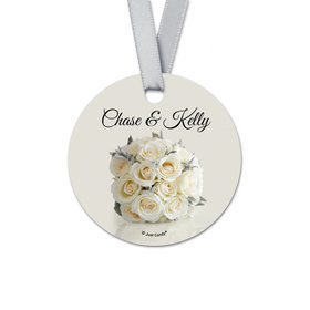 Personalized Round Bouquet Wedding Favor Gift Tags (20 Pack)